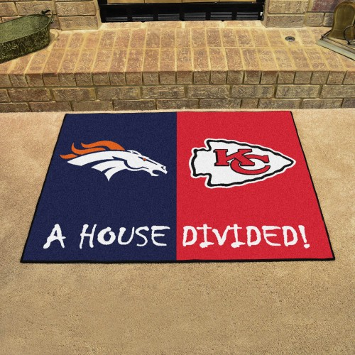 NFL - Broncos - Chiefs House Divided Rug 33.75