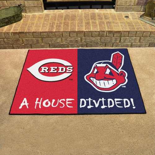 MLB - Reds - Indians House Divided Rug 33.75