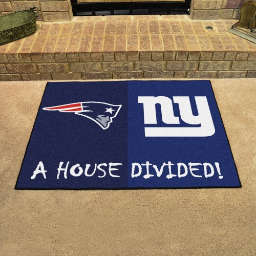 NFL - Patriots - Giants House Divided Rug 33.75