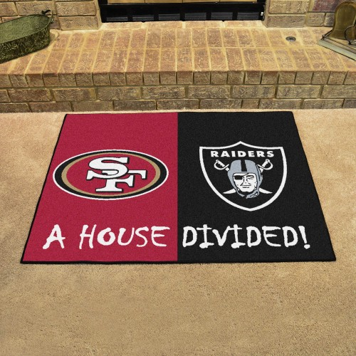 NFL - 49ers - Raiders House Divided Rug 33.75