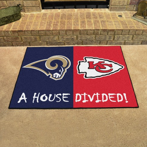 NFL - Rams - Chiefs House Divided Rug 33.75