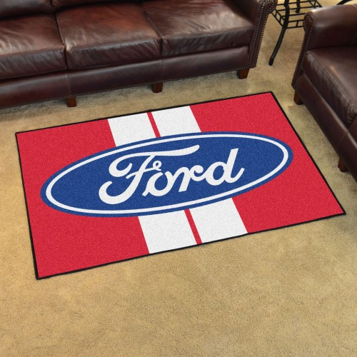 Ford Oval with Stripes 4'x6' Rug - Red