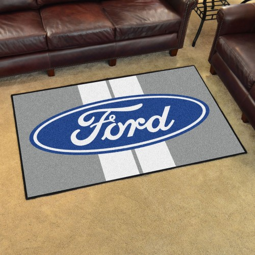 Ford Oval with Stripes 4'x6' Rug - Gray