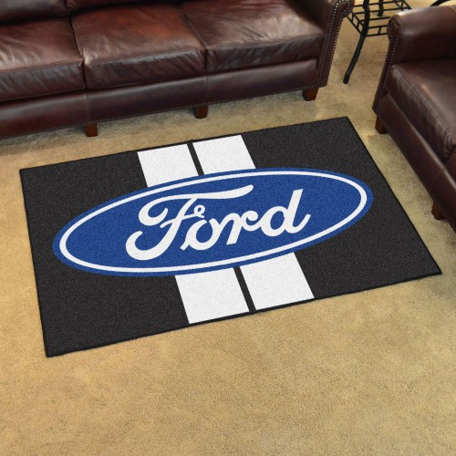 Ford Oval with Stripes 4'x6' Rug - Black