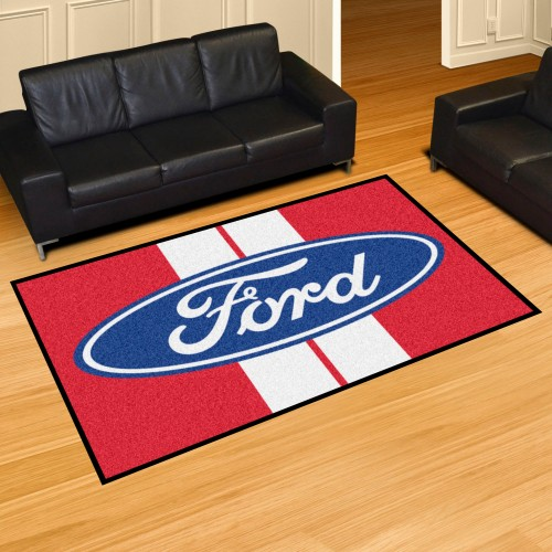 Ford Oval with Stripes 5'x8' Rug - Red