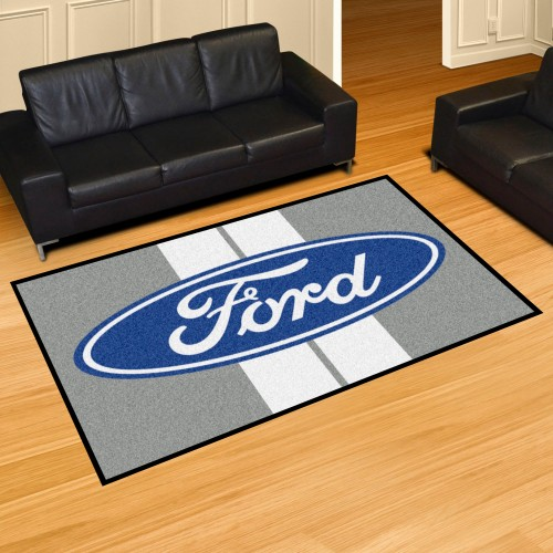 Ford Oval with Stripes 5'x8' Rug - Gray