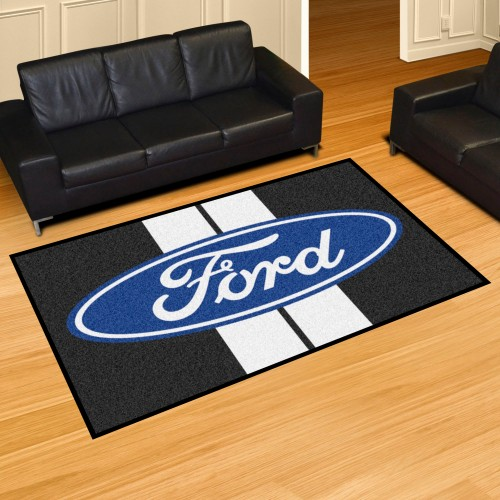Ford Oval with Stripes 5'x8' Rug - Black