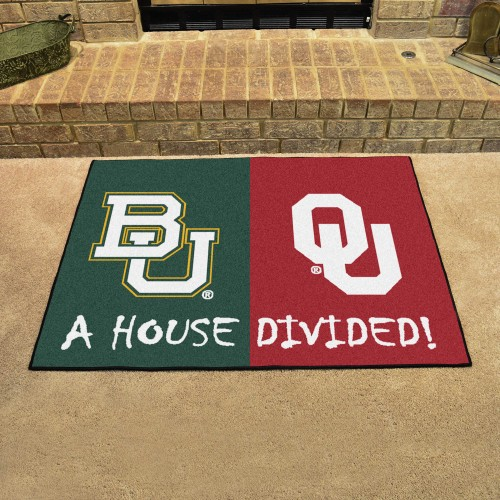 Baylor - Oklahoma House Divided Rug 33.75