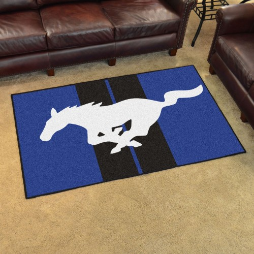 Mustang Horse 4'x6' Rug - Blue