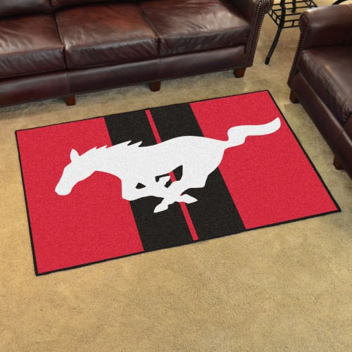 Mustang Horse 4'x6' Rug - Red