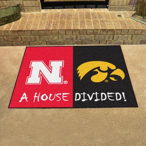 Nebraska - Iowa House Divided Rug 33.75