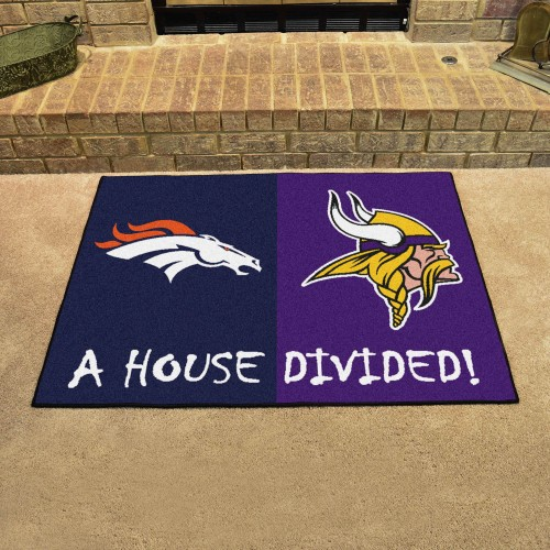 NFL - Broncos - Vikings House Divided Rug 33.75