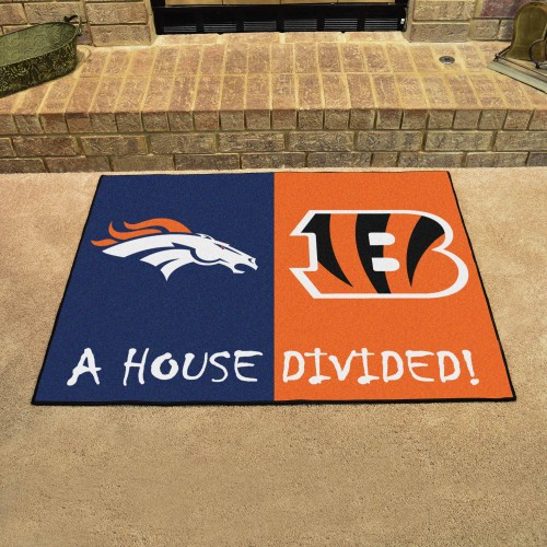 NFL - Broncos - Bengals House Divided Rug 33.75