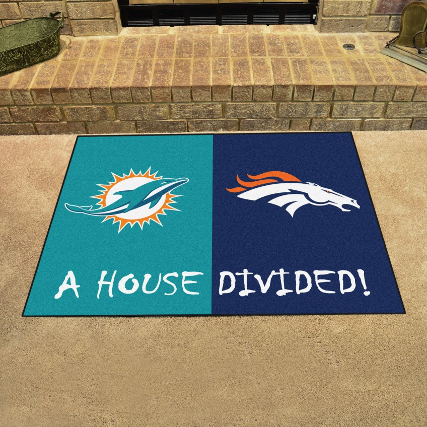 NFL - Dolphins - Broncos House Divided Rug 33.75