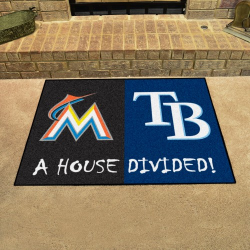 MLB - Marlins - Rays House Divided Rug 33.75