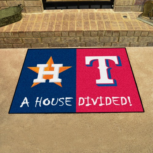 MLB - Astros - Rangers House Divided Rug 33.75