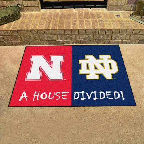 Nebraska - Notre Dame House Divided Rug 33.75