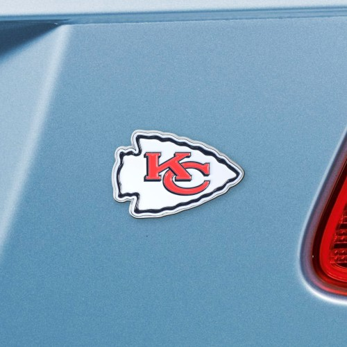 "NFL - Kansas City Chiefs Emblem - Color on Chrome 3""x3.2"""