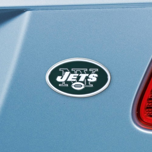"NFL - New York Jets Emblem - Color on Chrome 3""x3.2"""