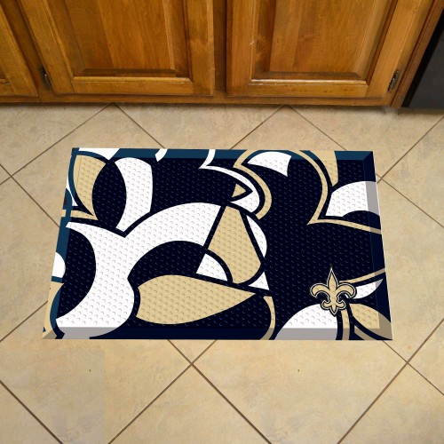 """NFL - New Orleans Saints Abstract Style Scraper Mat 19""""x30"""""""
